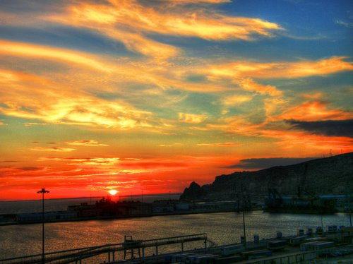 Winter Sunset On The Harbour Of Almería